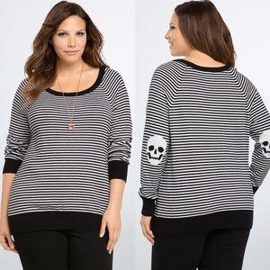 NWOT Torrid Black & White Striped Skull Sweater